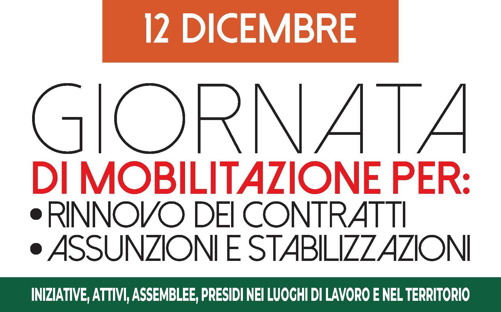 Pubblico Impiego, appuntamento il 12 dicembre a Roma in piazza Santi Apostoli.