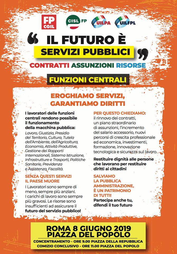 Manifestazione nazionale unitaria Pubblico Impiego 8 giugno - Il volantino delle Funzioni Centrali