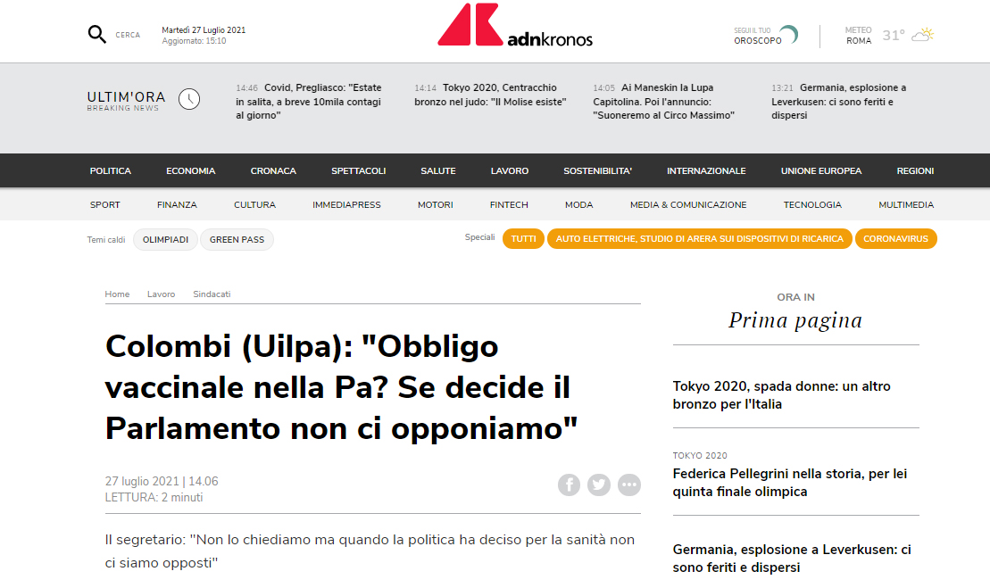 Adnkronos - Colombi (Uilpa): «Obbligo vaccinale nella Pa? Se decide il Parlamento non ci opponiamo»