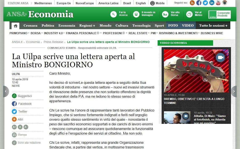 La Uilpa scrive al Ministro Bongiorno, vasta eco sulla stampa nazionale