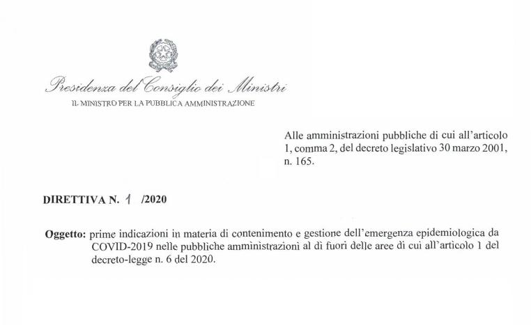 Ecco la Direttiva n.1 del 2020 - Emergenza epidemiologica COVID-2019 - del Ministro per la Pubblica Amministrazione